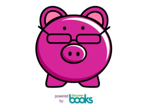 Pink Pig with Glasses that looks like a piggy bank. PiggyBook app - the app that buys back - books that is.