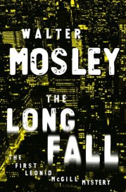 City buildings with lights in the background. Title of book The Long Fall by Walter Mosely in foreground in white text