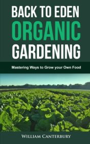 Book cover for Back To Eden Organic Gardening. Picture of green rows of vegetables.