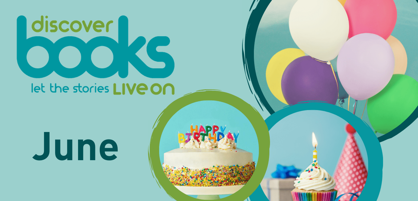Birthday Cake and balloons with Discover Books Logo