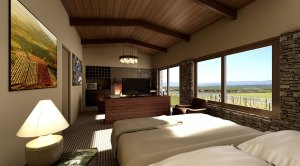 Renders of the hotel rooms at Auberge du Vin, Mendoza