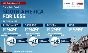 LAN Airfare Sale to South America