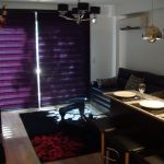 Living room with blinds closed