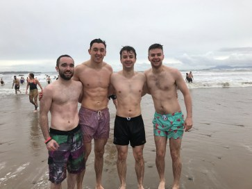 Donal O'Keefe, Brion McGowan, Joe and James Morris still smiling after the swim