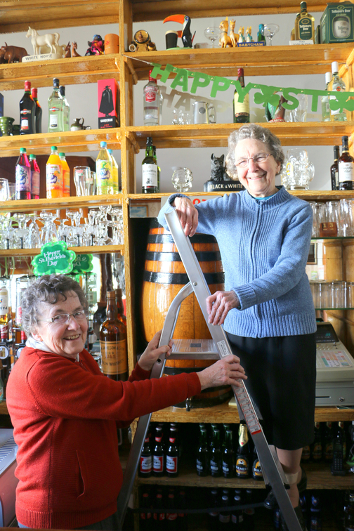 Nan and Patricia decorating the bar on St Patrick's Day 2015 - pic Matt Britton
