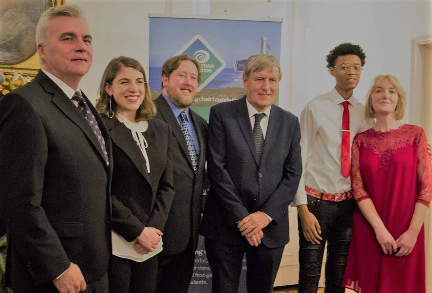 Ambassador Mulhall with Dr. Niamh Hamill and John O'Connell of The Wishing Chair Foundation, and students Kirsten Quinn, Alabama, Thomas Boyd, Oregon and Jaylan Berry, Chicago