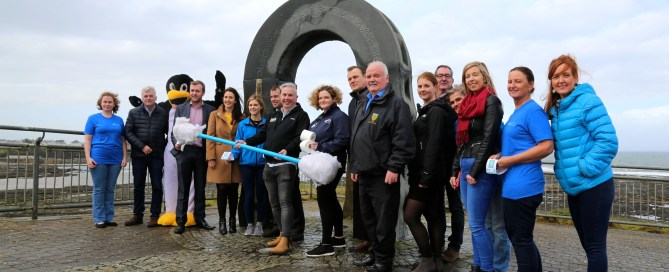 Representatives from Donegal County Council, Irish Water, Clean Coasts, Discover Bundoran & Bundoran Tidy Towns with some of the local businesses who have backed the initiative - pic Brian O'Droma
