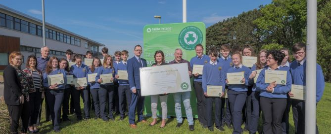 Students from Magh Ene College are presented with their customer service excellence certificates - photo Conor Conlon Photography