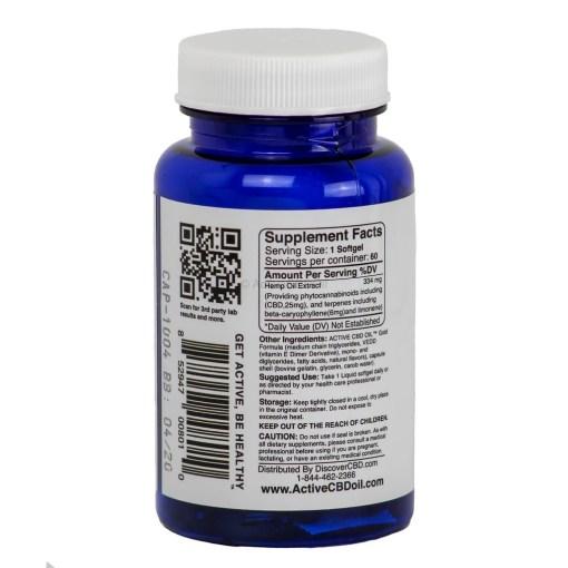 Active CBD Oil Capsules 60 ct - Back