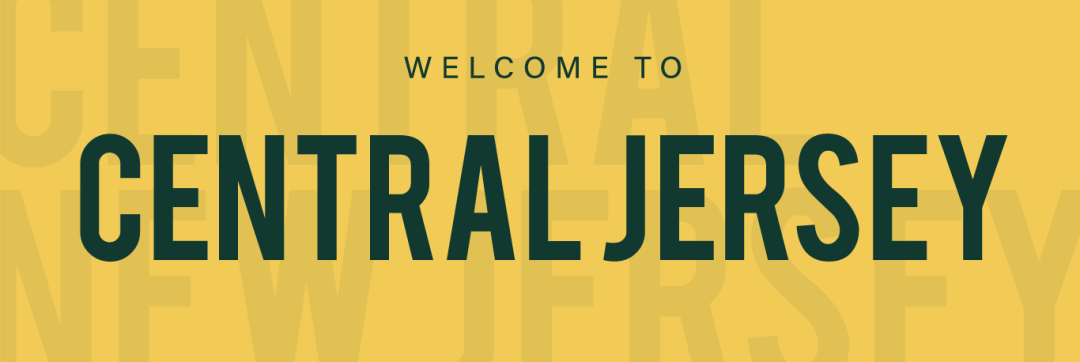 discover central new jersey yellow banner with green type that reads welcome to central new jersey