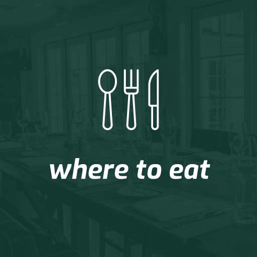 home, where to eat button green with white text