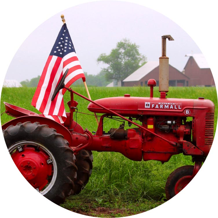 Places To Go - Farm with Red Tractor and American Flag in Central New Jersey