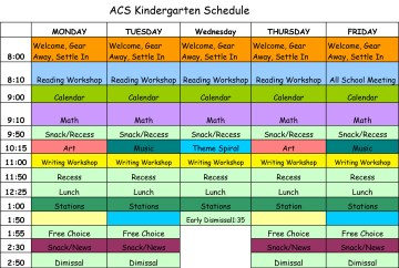 Kindergarten Schedule 2016-17