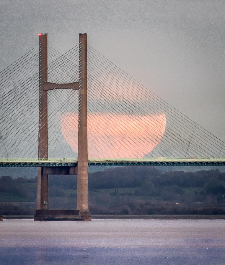 Supermoon behind the Severn Bridge