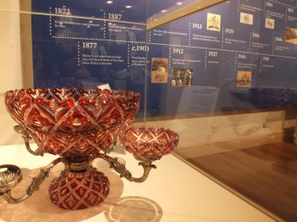 Decorative red glass item on display