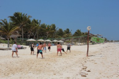 Volleyball game at La Luna beach club