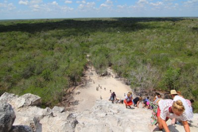 a view of the surrounding environment from the top of Nohoch Pyramid