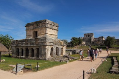Ruins of La Pintura building which housed works of art in the ancient city of Tulum