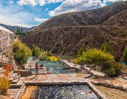 This is the upper level of pools at the Cachueta Hot springs and the water temperature of each pool varies.