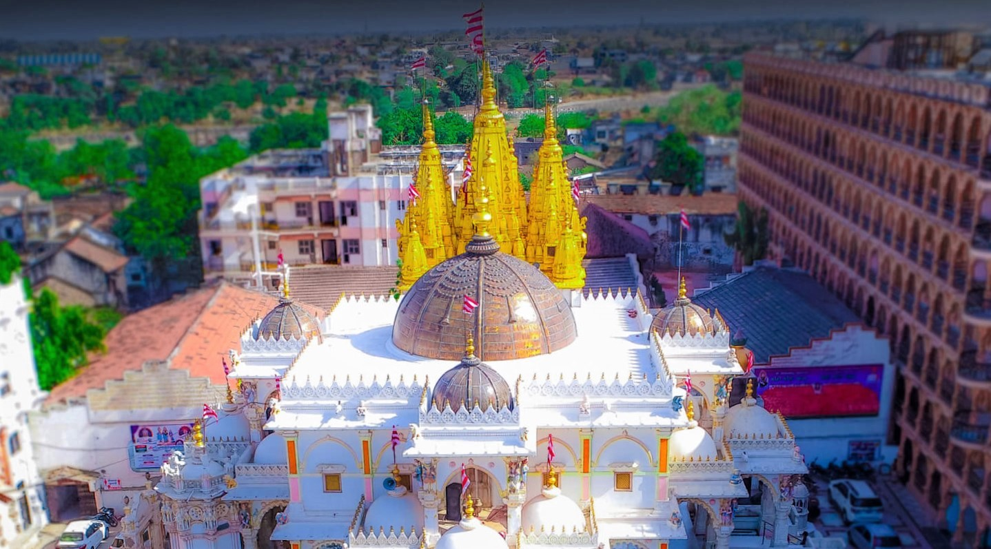 Top view of Gadhada Swaminarayan Mandir with Golden Shikhar