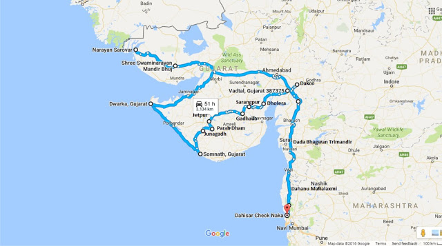 Entire Gujarat trip road Map