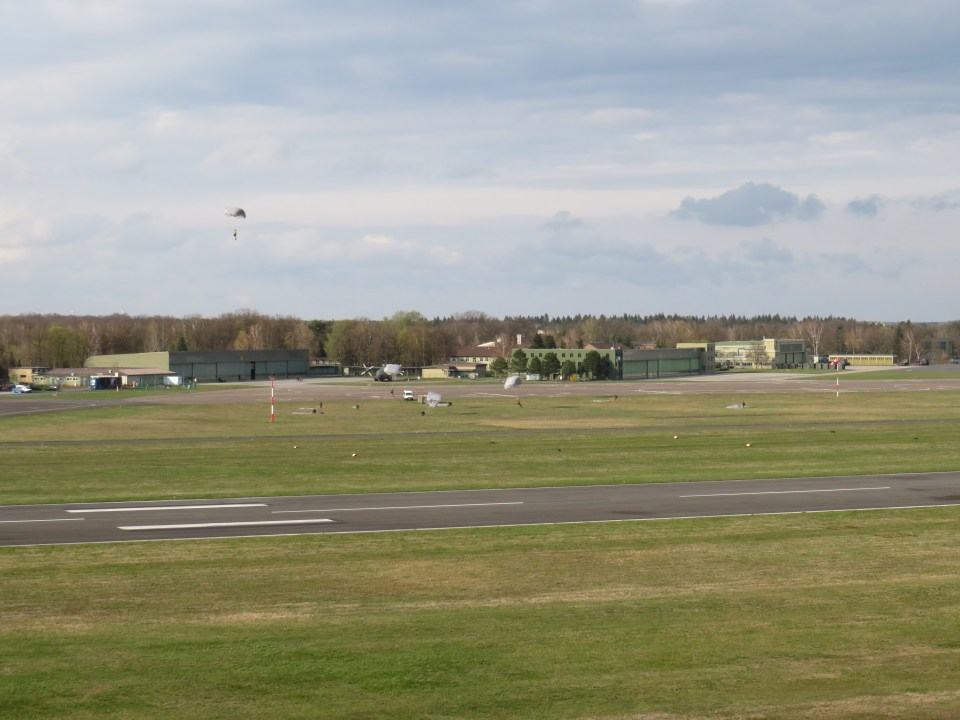 Paratropper approaching the LDZ (landing zone) at German Army Military Airbase Celle-Wietzenbruch (ETHC)