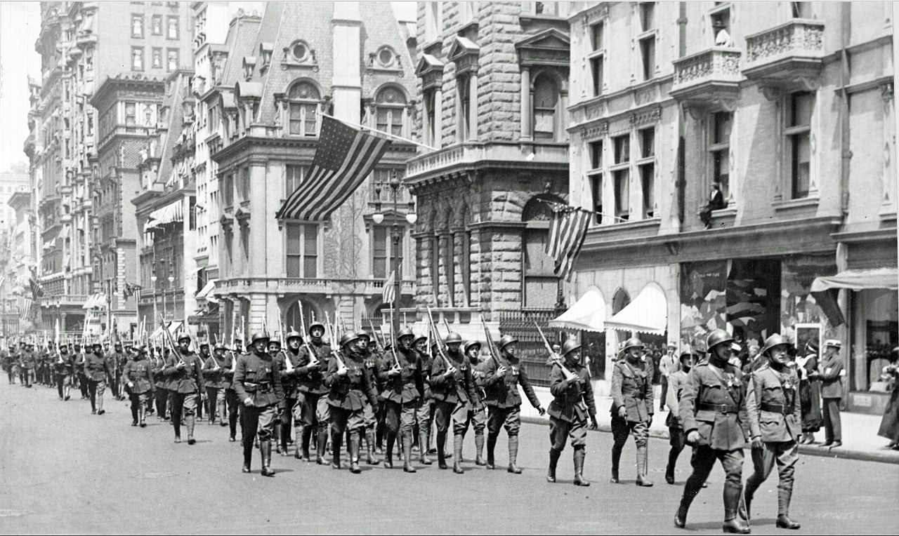 ACM Belgians parade on Fifth Avenue  in Manhattan, New York, June 4, 1918