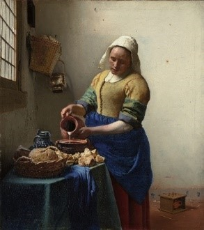 Johannes Vermeer (Dutch, 1632- 1675 ) The Milkmaid ca. 1658 Oil on Canvas 45.5 x 41 cm Amsterdam (Netherlands)