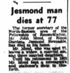 Newspaper article recording death of John Mood