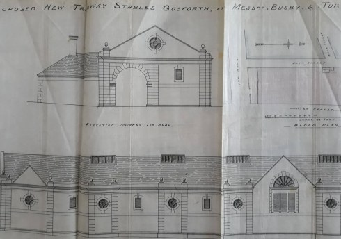 Plans for new tramway stables for Gosforth.