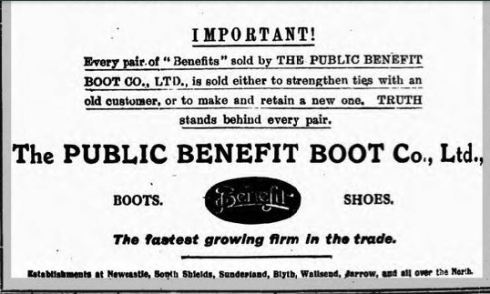 Disocvering Heritage photo AD of Public Benefit Boot Company 201 Gosforth  High Street