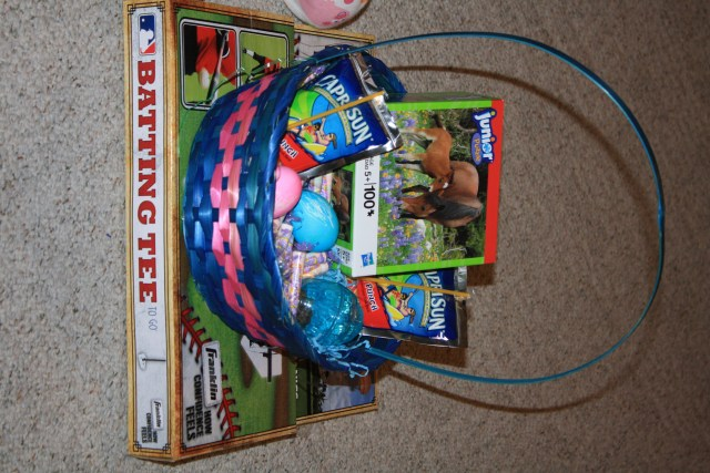 Easter bunny left a basket full of goodies.