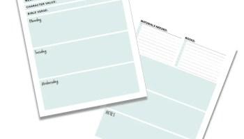 Homeschool Preschool: Weekly Lesson Planner Template FREE Printable