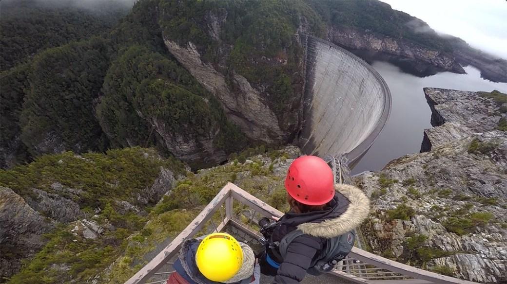 Looking over the edge of Gordon Dam. Abseiling with Aardvark Adventures Strathgordon Tasmania