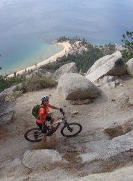 Laurie Hoer biking The Flume Trail at Lake Tahoe