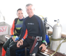Laurie Hoer scuba diving in Sudan with husband
