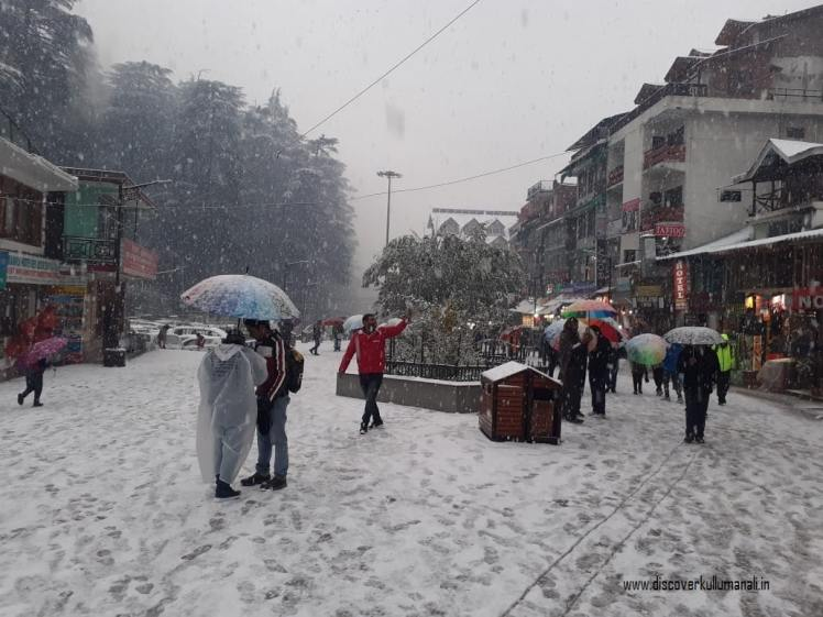 Fresh snowfall in Manali