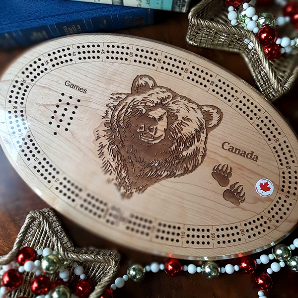 Handmade Cribbage Board available for sale at Magpies Collection in Leduc, AB