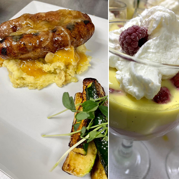 Bangers and Mash + Raspberry Trifle - HomeRoom Diner, Devon, AB