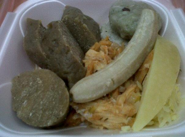 Everything is better with saltfish. Dukna, green banana, breadfruit :-)