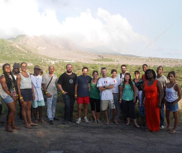 Group photo with Soufriere Hills Volcano in the background on Saturday, March 21, 2015.