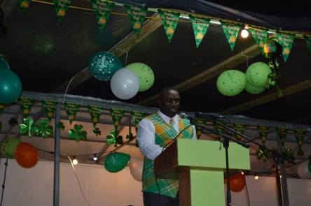 Hon. Premier Donaldson Romeo speaking at the opening of the St. Patrick's Festival on Thursday, March 10, 2016.