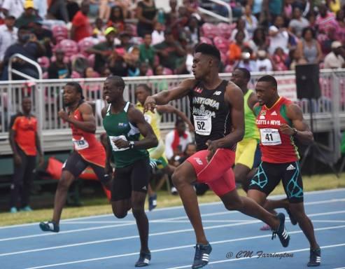 BVI Athletics Photo of 100M Dash at 2nd OECS Track & Field Championships on Saturday, July 2, 2016.