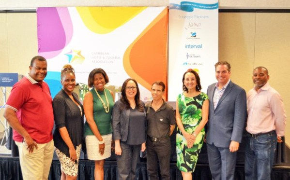 Karolin Troubetzkoy (third from right) with members of her leadership team and the media in Miami earlier this month.