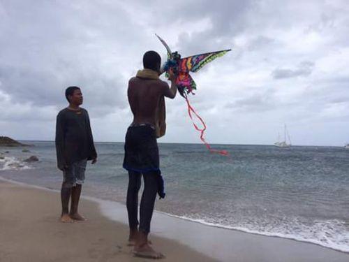 Everton gets help with a kite. (Aqua Montserrat photo)