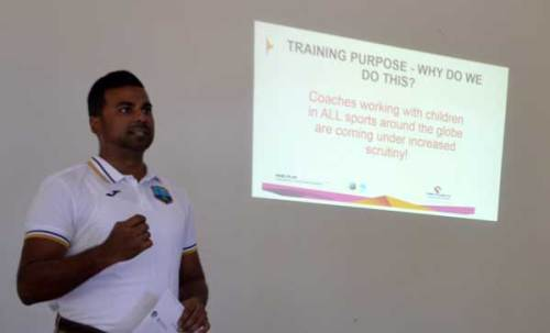 Khusghiyal Singh of the West Indies Cricket Board leads a workshop on Child Protection in Youth Cricket this morning at the Cultural Centre.