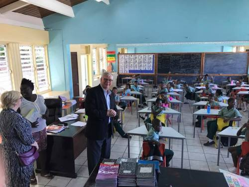 Rotary International President Elect Ian Riseley visits the Brades Primary School. Rotary Montserrat Photo