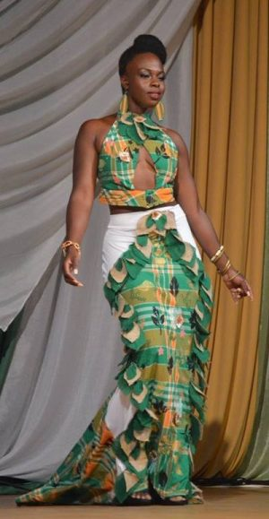 Delon Searls shows off her evening gown inspired by the Montserrat Madras.