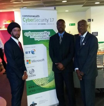 IT Security Specialist Dwayne Cassell, Hon. Minister Paul Lewis, RMPS Commissioner Steve Foster at the Cyber Security Forum in London.