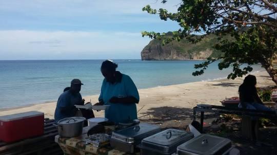 Enjoying breakfast in Carr's Bay